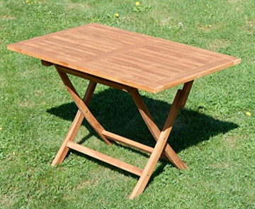 ASS ECHT Teak Holz Klapptisch Holztisch Gartentisch Tisch in verschiedenen Größen von Größe:120x70 cm - 3