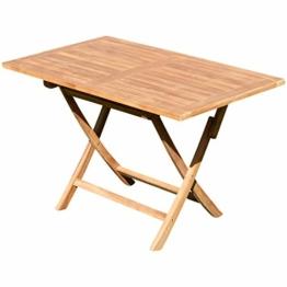 ASS ECHT Teak Holz Klapptisch Holztisch Gartentisch Tisch in verschiedenen Größen von Größe:120x70 cm - 1