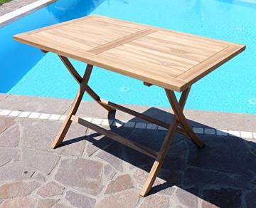 ASS ECHT Teak Holz Klapptisch Holztisch Gartentisch Tisch in verschiedenen Größen von Größe:120x70 cm - 7