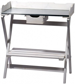 dobar klappbarer Pflanztisch aus Holz mit verzinkter Metall-Arbeitsfläche, Gärtnertisch mit praktischer Schublade, 80 x 40 x 84 cm, weiß - 1