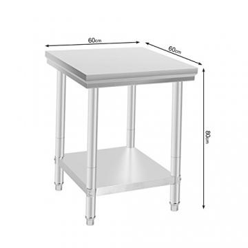 VEVOR Arbeitstisch 24 x 24 Inch Edelstahl Arbeitstisch Arbeitstisch Küche Stainless Steel Work Table (24 x 24 Inch) - 2