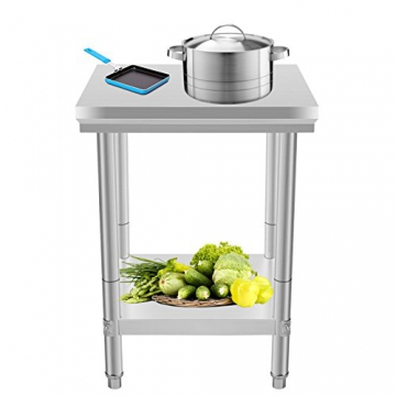 VEVOR Arbeitstisch 24 x 24 Inch Edelstahl Arbeitstisch Arbeitstisch Küche Stainless Steel Work Table (24 x 24 Inch) - 4