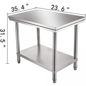 VEVOR Edelstahl Arbeitstisch 900 x 600 x 70 mm Essenszubereitung für die Zubereitung von Mahlzeiten, Nähen, Waschen, Basteln, Garagennutzung usw. - 2