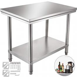 VEVOR Edelstahl Arbeitstisch 900 x 600 x 70 mm Essenszubereitung für die Zubereitung von Mahlzeiten, Nähen, Waschen, Basteln, Garagennutzung usw. - 1