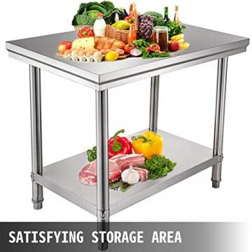 VEVOR Edelstahl Arbeitstisch 900 x 600 x 70 mm Essenszubereitung für die Zubereitung von Mahlzeiten, Nähen, Waschen, Basteln, Garagennutzung usw. - 5