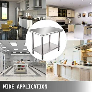 VEVOR Edelstahl Arbeitstisch 900 x 600 x 70 mm Essenszubereitung für die Zubereitung von Mahlzeiten, Nähen, Waschen, Basteln, Garagennutzung usw. - 8