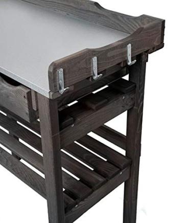 mgc24® Pflanztisch mit verzinkter Arbeitsplatte - 78x38x82cm aus Kiefernholz Anthrazit/Grau, mit Abstellboden / 3 Schubladen / 3 Haken - für Garten Balkon Terrasse - 2