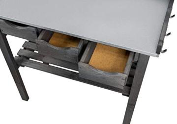 mgc24® Pflanztisch mit verzinkter Arbeitsplatte - 78x38x82cm aus Kiefernholz Anthrazit/Grau, mit Abstellboden / 3 Schubladen / 3 Haken - für Garten Balkon Terrasse - 3